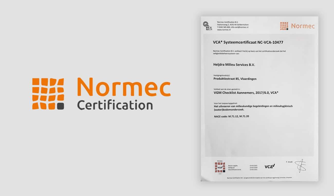 Normec Certificaat